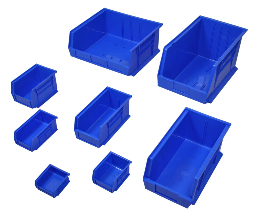 Blue Plastic Parts Bins Small Component Storage Boxes