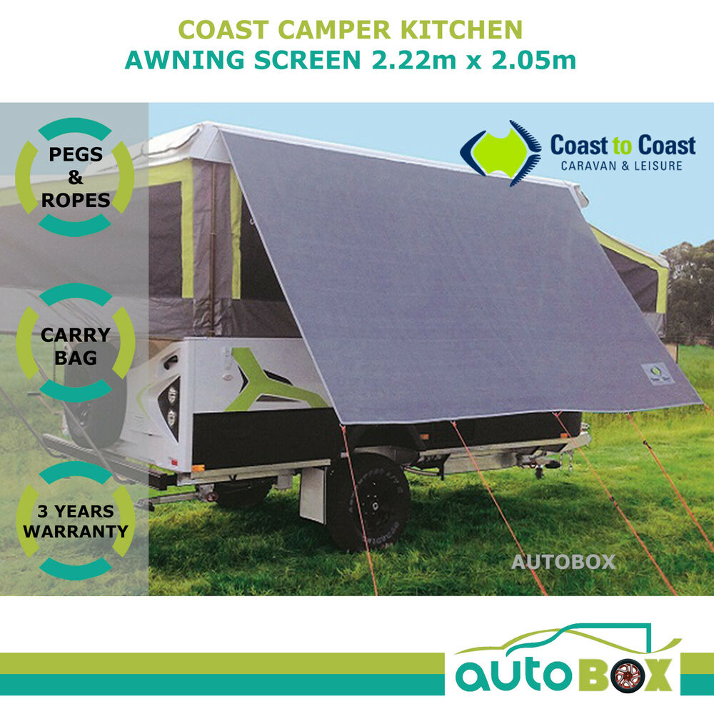 Kitchen Awning 2 2m Privacy Sun Screen Cover Shade Caravan