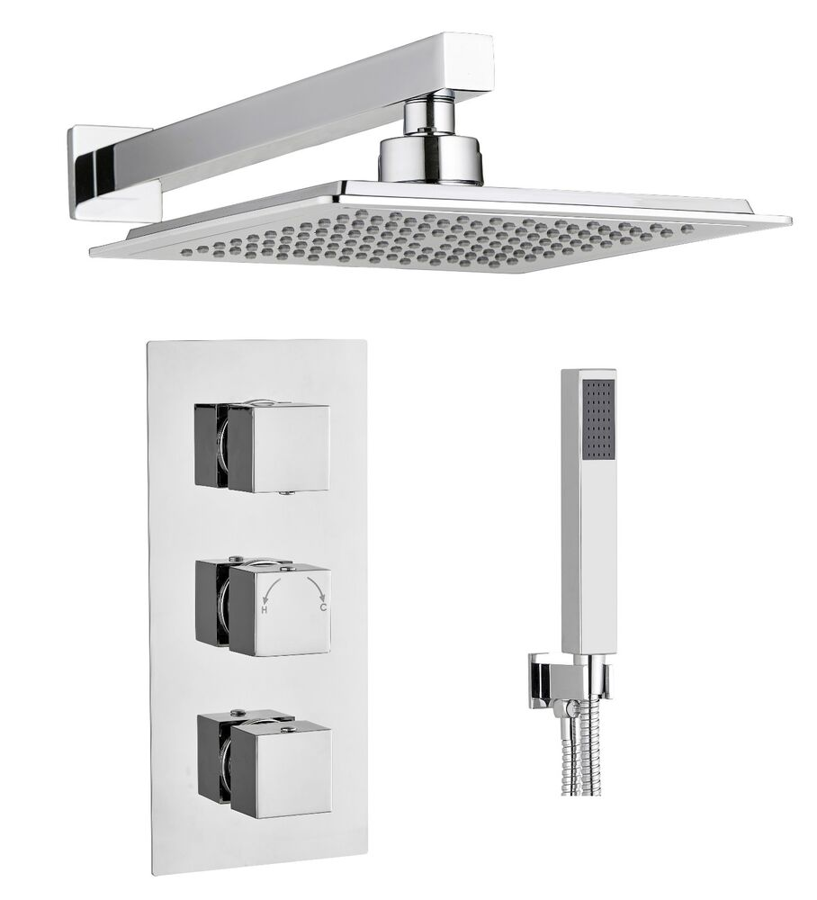 Square Concealed Thermostatic Shower Mixer Valve 3 Handle