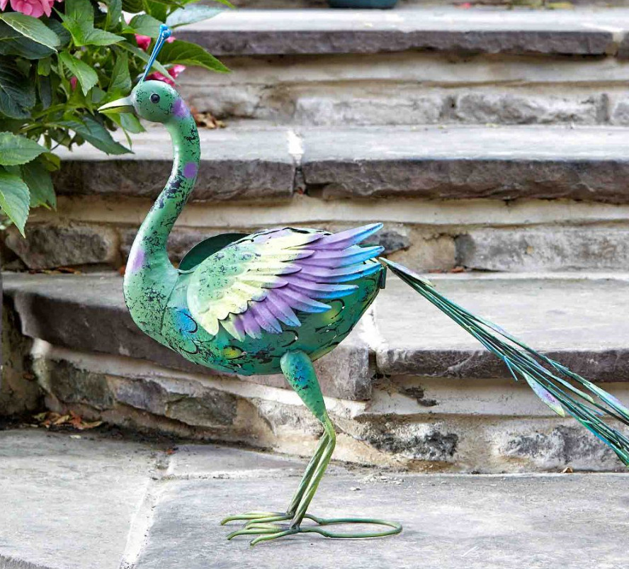 Peacock lawn ornament metal figure bird statue garden pond for Garden pool ornaments