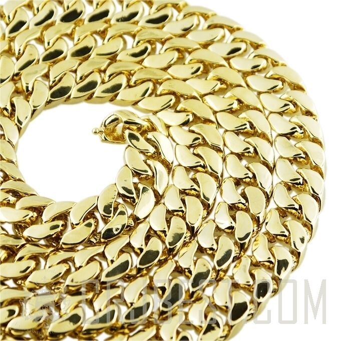 mens choker necklace miami cuban link 14k gold plated 14mm. Black Bedroom Furniture Sets. Home Design Ideas