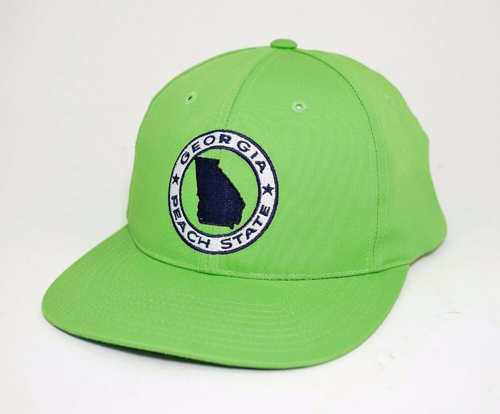 b28695f4 Details about GEORGIA PEACH STATE Lime Green GA Pride State Logo Embroidered  Snapback HAT CAP