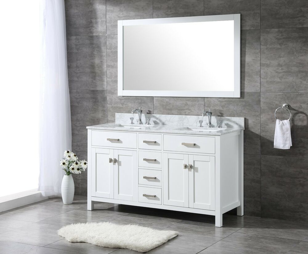 All wood high end 60 inch white shaker double bathroom - 60 inch unfinished bathroom vanity ...