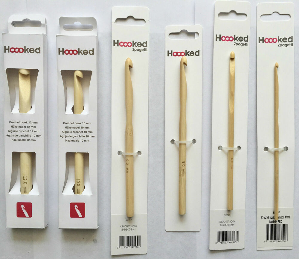 Hoooked Bamboo Crochet Hooks Tool Zpagetti Yarn Sizes 4mm 12mm
