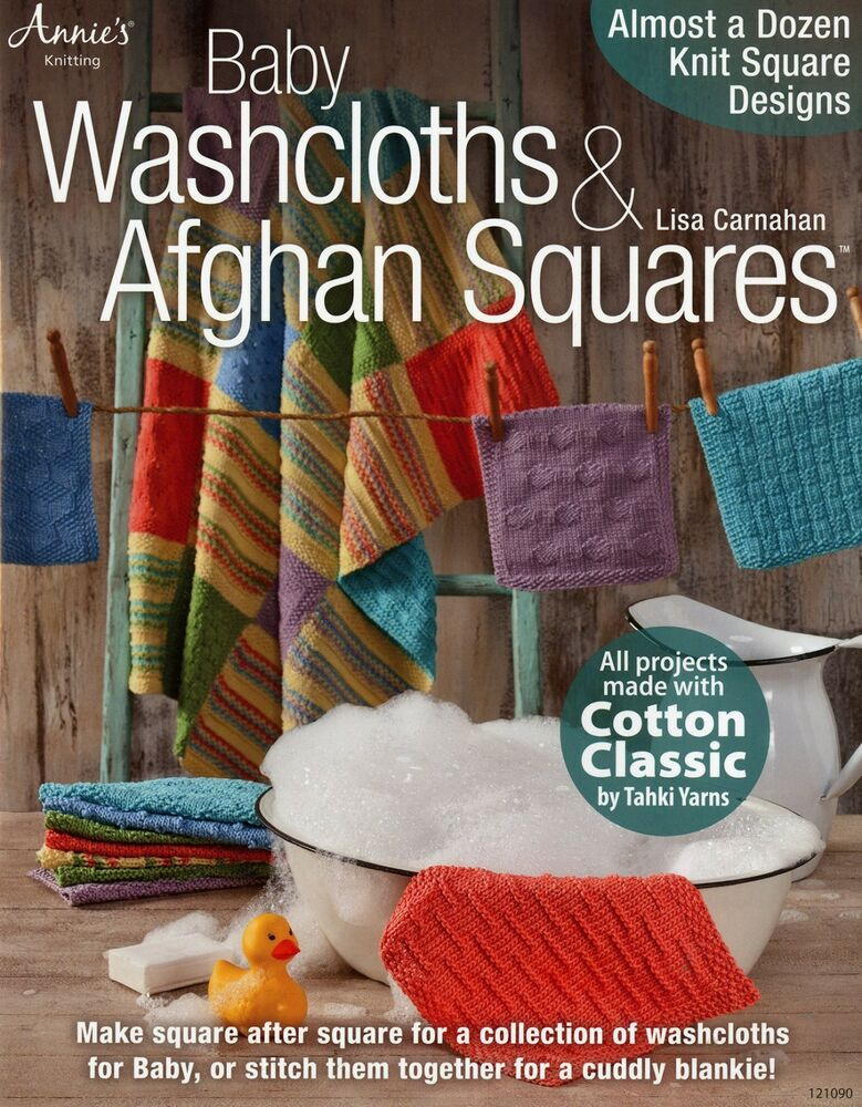 Baby Washcloths Afghan Squares Knitting Pattern Book From Annies
