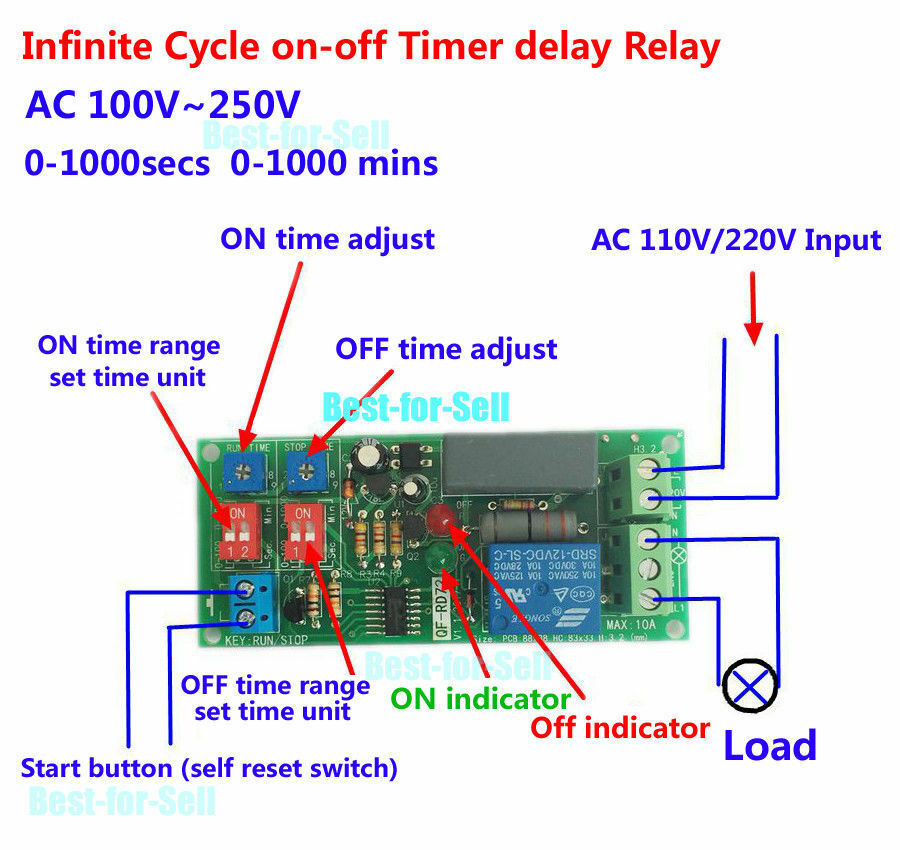 110v relay wiring 110v outlet wiring diagram ac 220v 110v adjustable cycle delay time timer relay ...
