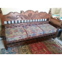 Beautiful Mint Wood bench hand carved in Mexico with custom made pillows