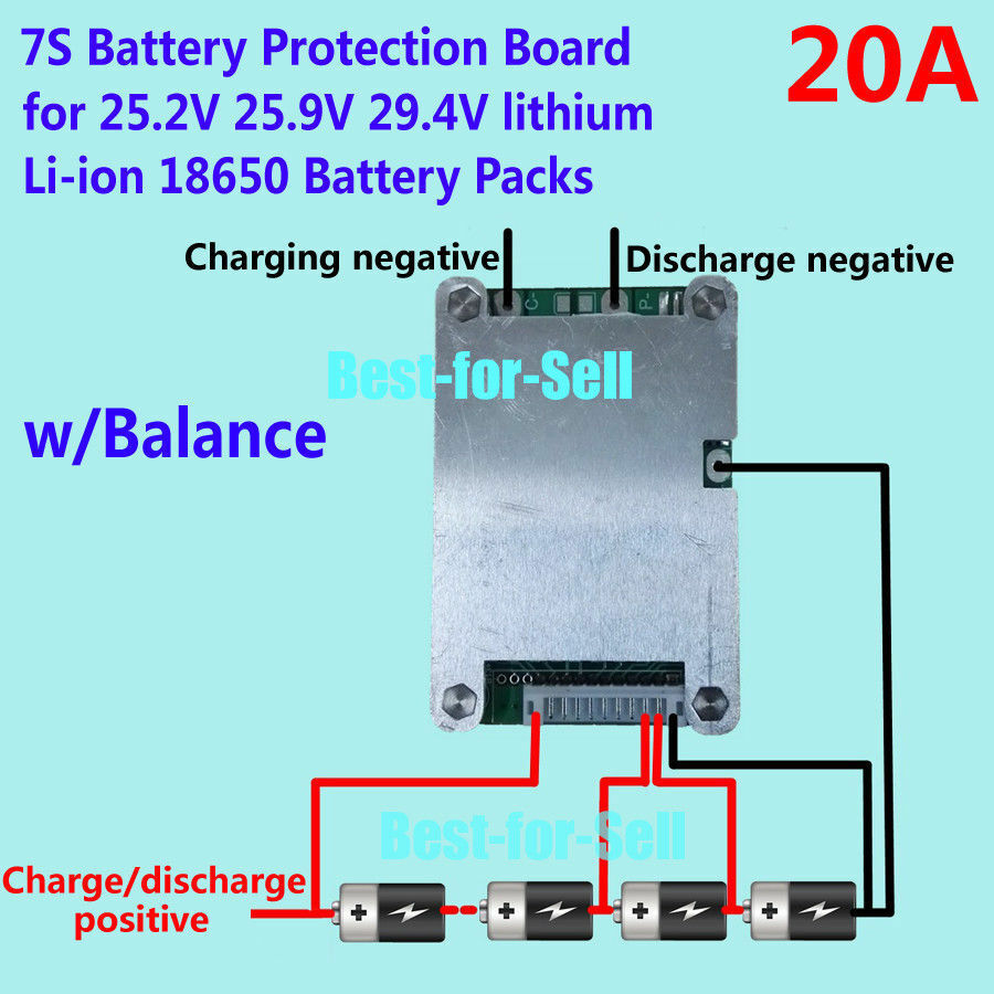24v 20a 7s 18650 Cells W Balancing Li Ion Lithium Battery Bms Series Wiring Diagram Protection Board 9515380886355 Ebay