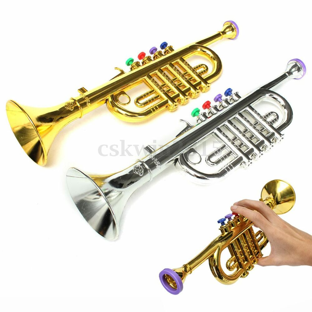 Toy Musical Horns : Cm silver gold trumpet horn toy music instrument