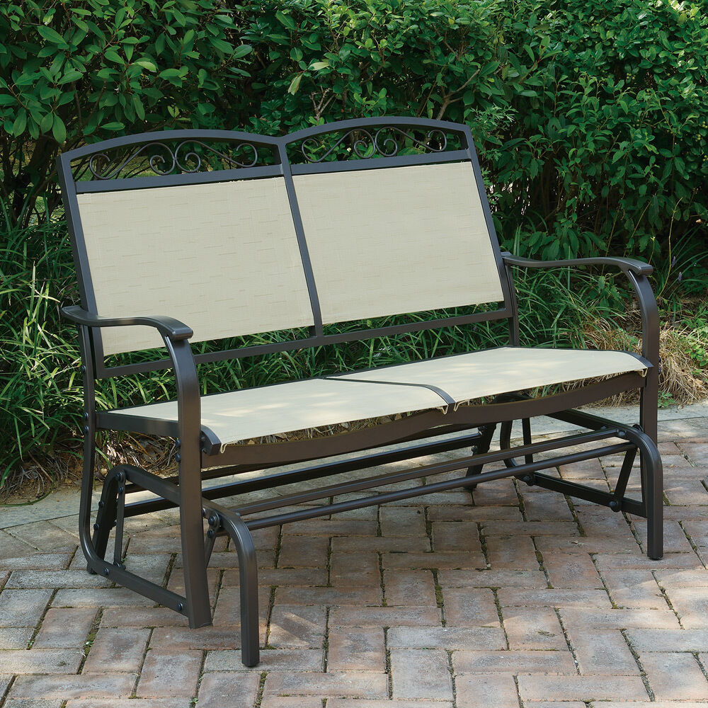 Outdoor Patio Yard Glider Loveseat Bench High Back Beige