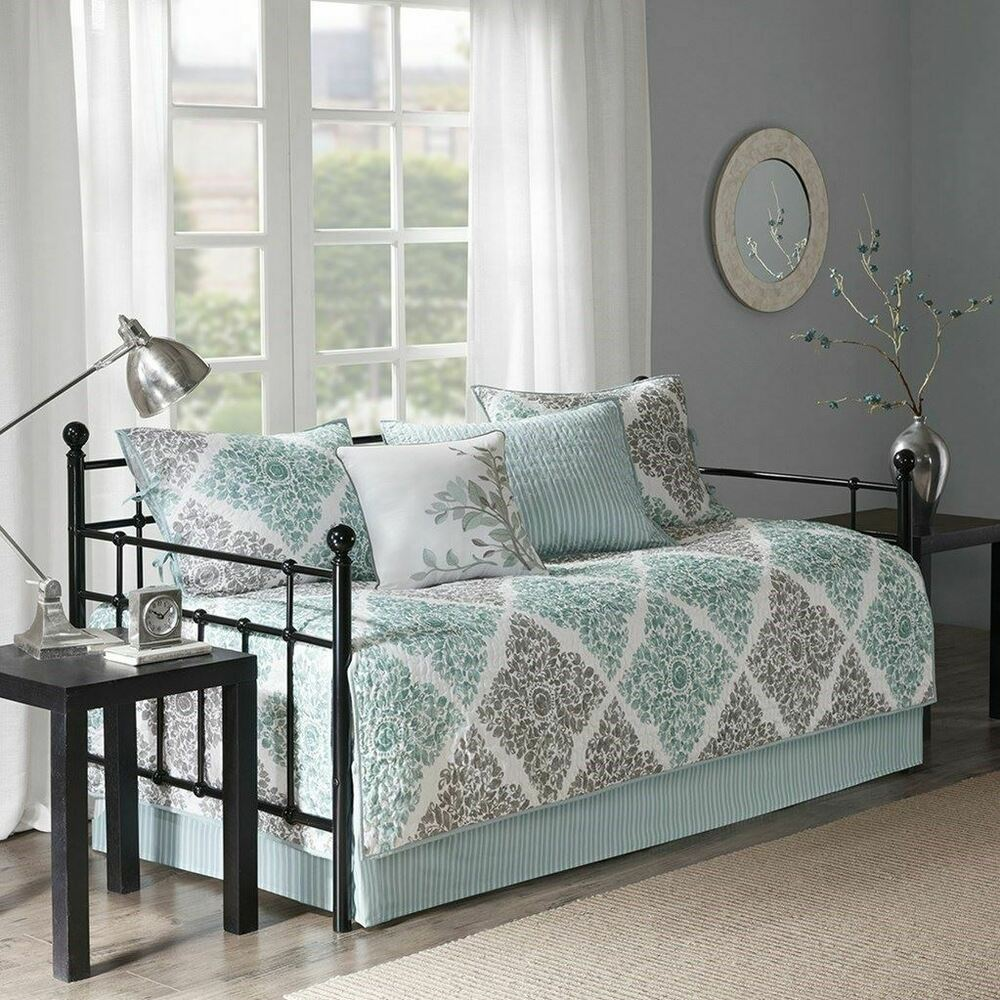 Luxury 6pc Aqua & Grey Leaf Diamond Quilted Daybed Set AND
