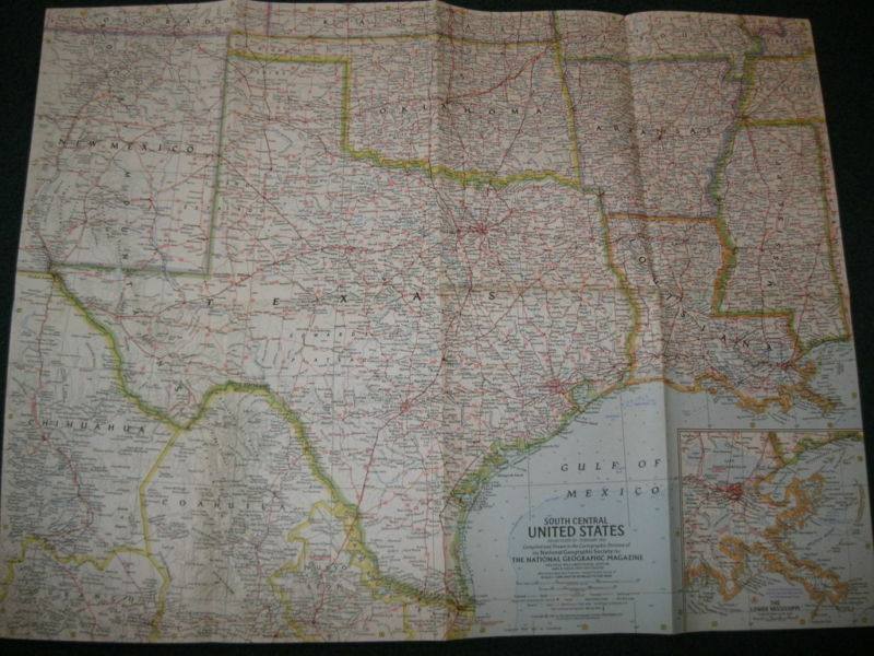 1961 South Central Us National Geographic Map Ebay - National-geographic-us-map