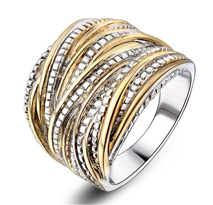 Punk 2 Tone Stainless Steel Ring Wide Band Men Women S