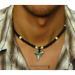 AUSTRALIA Mens Beaded Necklace Surfers for Men SHARK TOOTH Pendant Man Choker