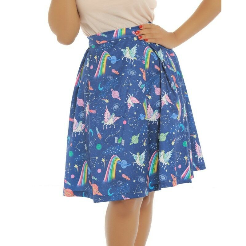 f077979f9a9f Details about Lindy Bop Marie Space Unicorn Skirt Rainbow Planets Pegasus  Rockabilly 50s 8-16