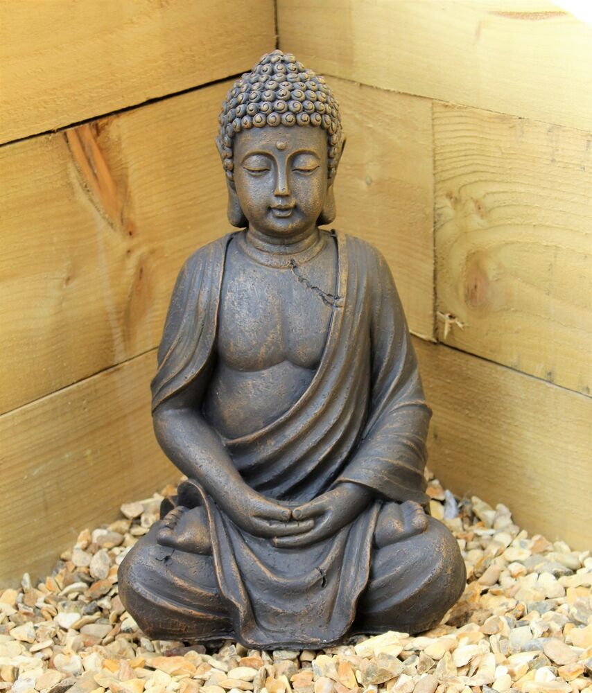 Buddha Statues For The Garden: Large 39cm Sitting Buddha Stone Effect Garden Outoor
