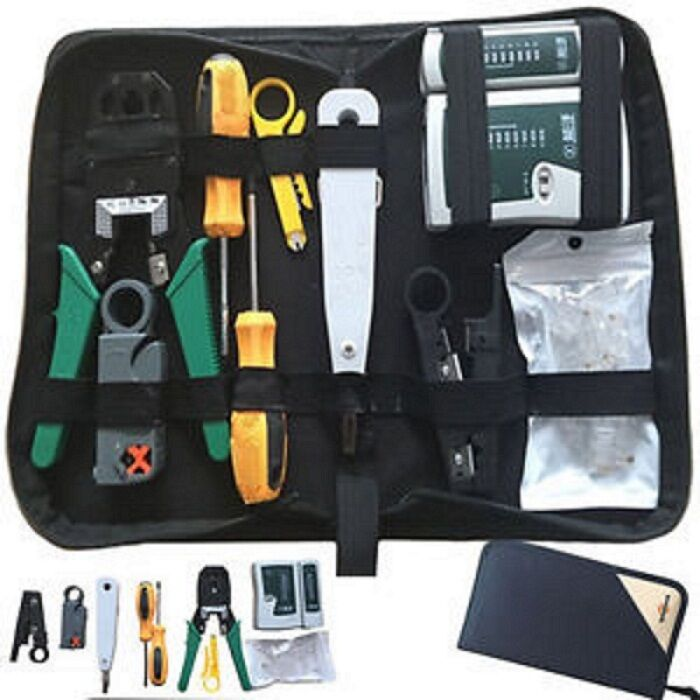 rj45 rj11 crimper ethernet network hand tool kit cable tester lan crimp cabling ebay. Black Bedroom Furniture Sets. Home Design Ideas