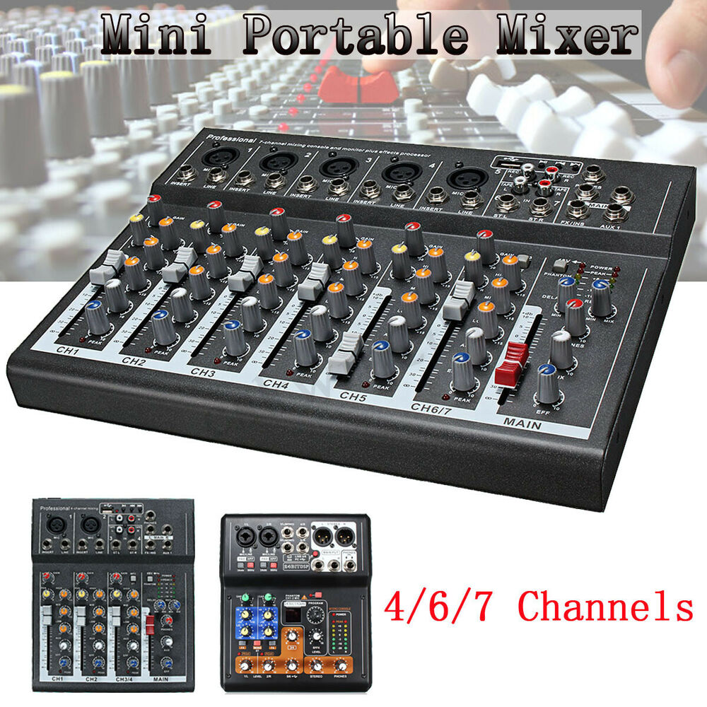 professional 4 6 7 channel line live mixing studio audio sound mixer console usb ebay. Black Bedroom Furniture Sets. Home Design Ideas