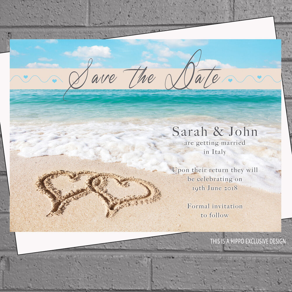 Details About 12 X Personalised Beach Wedding Save The Date Cards Envs Clear Waters H0127
