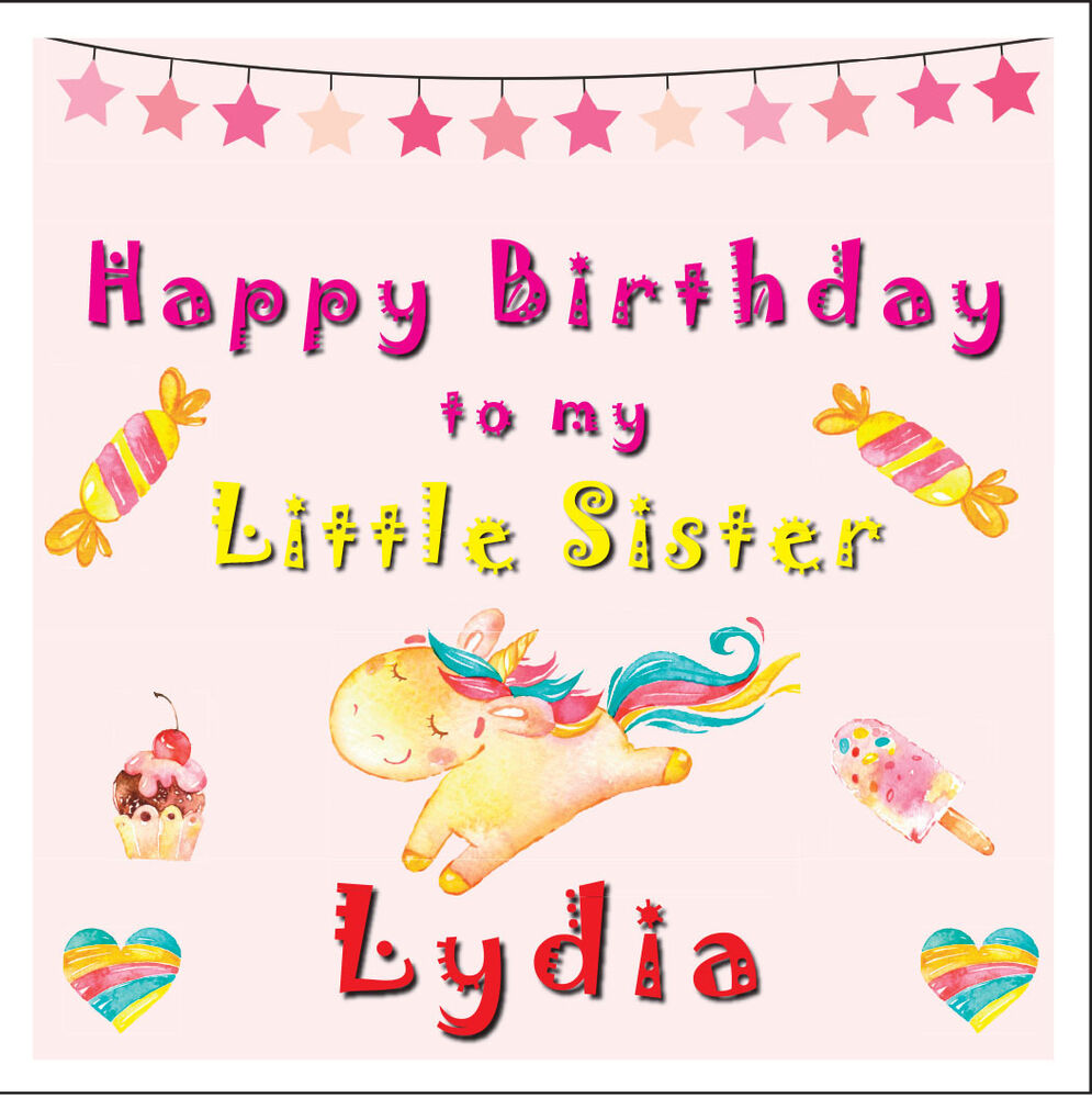 Details About UNICORN LITTLE SISTER PERSONALISED BIRTHDAY CARD