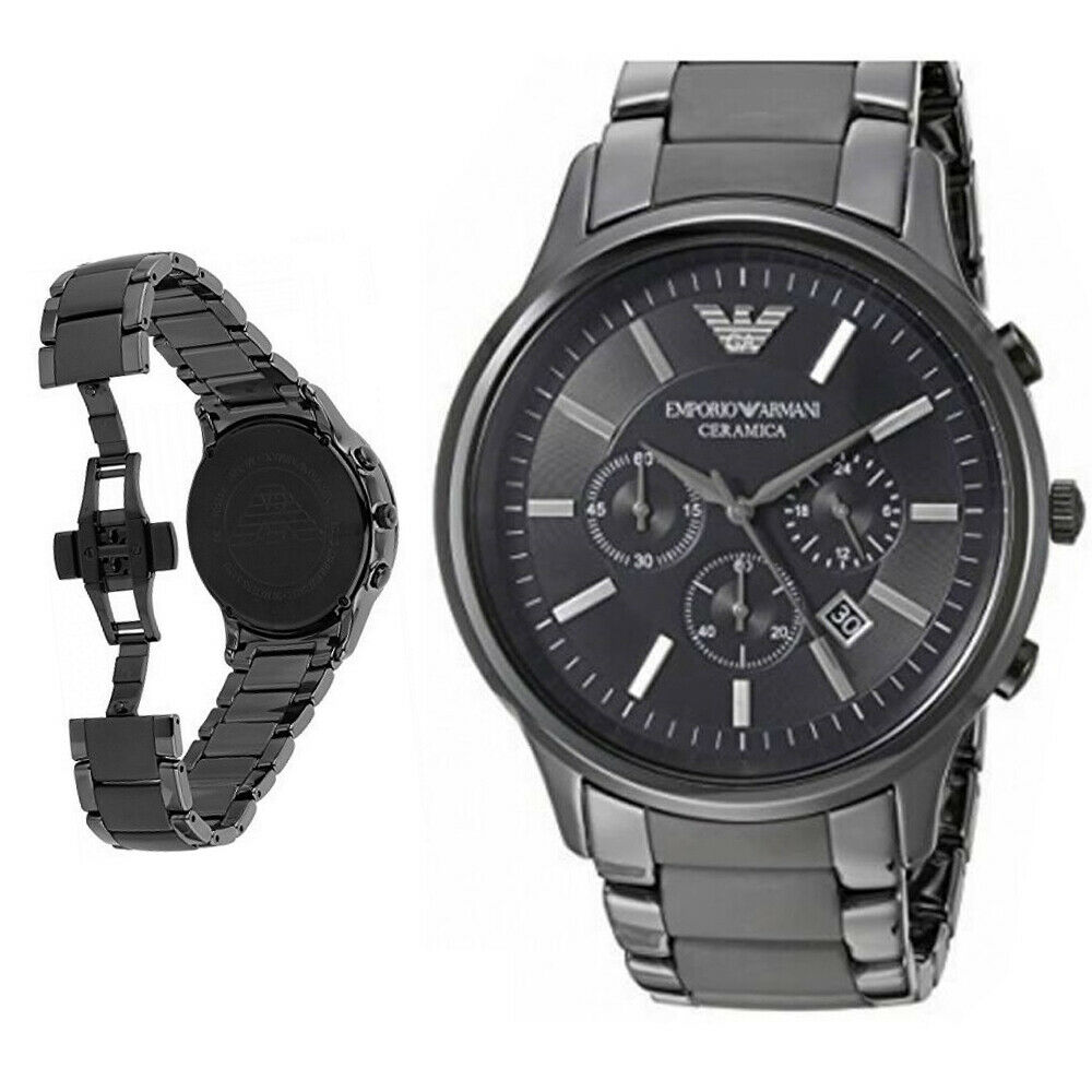 18817a9ccdf Details about New In Box Emporio Armani AR1451 Chronograph Black Dial  Ceramic Men s Watch