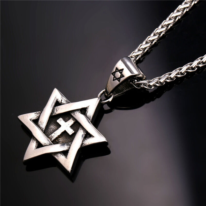 Star of david cross pendant necklace chain christian for Star of david necklace mens jewelry