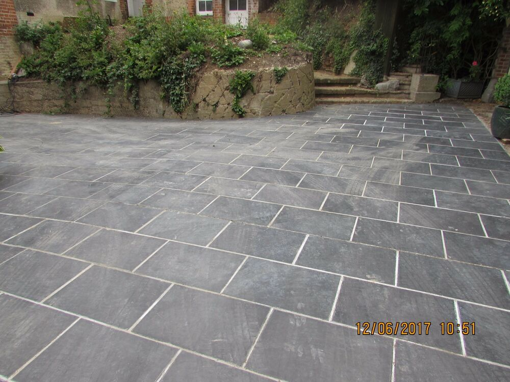 Slate paving slabs drive patio slabs garden 10m2 600x400mm for Garden decking and slabs