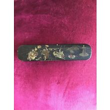 ANTIQUE CHINESE LACQUER HAND FAN CASE, 1880's
