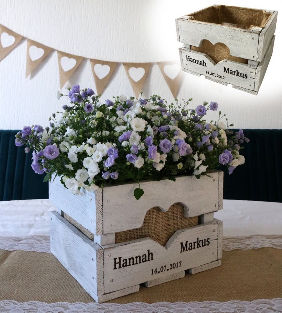 vintage hochzeit obstkiste tischdeko holz geschenk blumen l ndlich shabby wei ebay. Black Bedroom Furniture Sets. Home Design Ideas