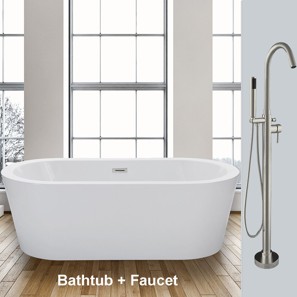 Woodbridge 59 39 39 freestanding bathtub b 0012 with free - Freestanding tub in small bathroom ...