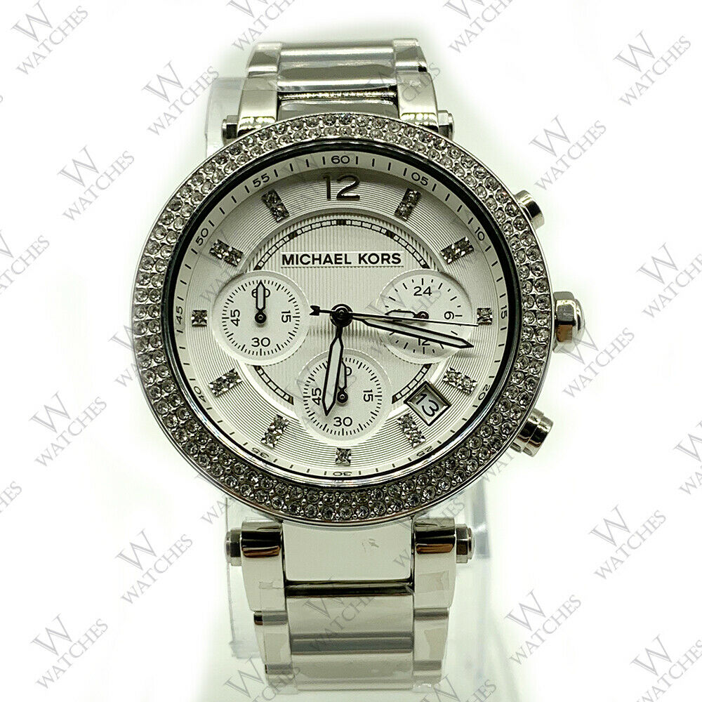 7bd016b49ccc Details about Michael Kors MK5353 Parker Silver Chronograph Women s Glitz  Stainless Watch 39MM