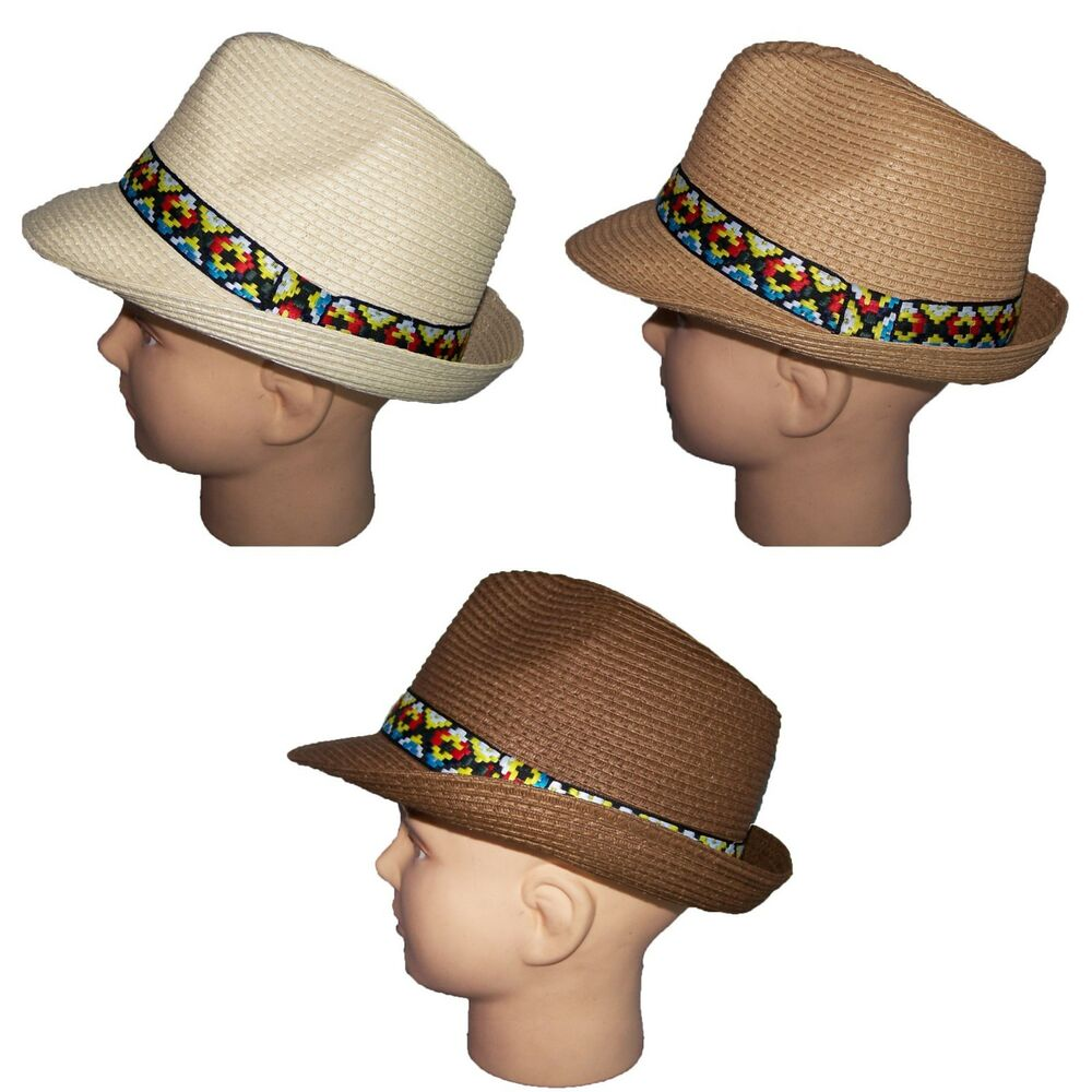 dbdfac0a954 Details about Fedora Trilby Hats 3 Colors South West Pattern Bands For  Adults (FedHat84  )