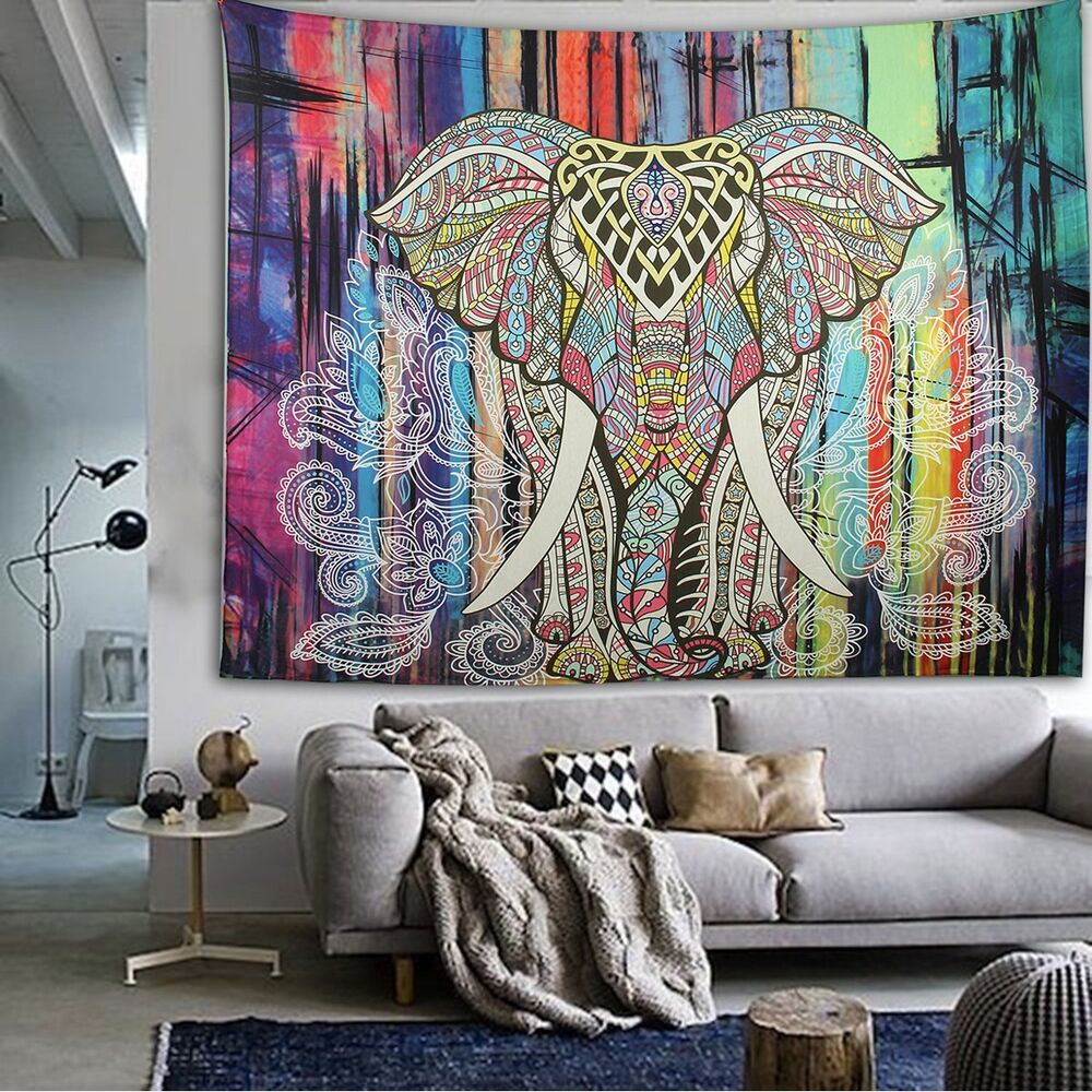 Indian wall hanging hippie mandala tapestry elephant dorm - Watch the elephant in the living room ...