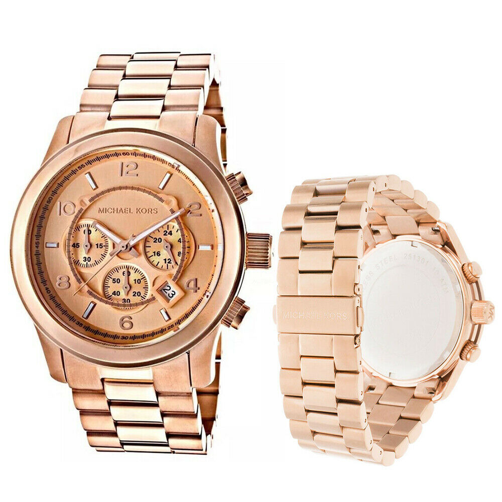 339dd109ad13 Details about New Michael Kors MK8096 Runway Rose Gold Chronograph  Stainless Steel Men s Watch
