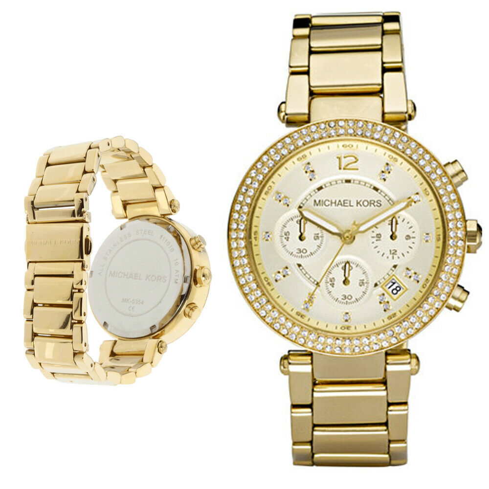 2d26df871635 Details about New Michael Kors MK5354 Women Chronograph Parker Gold-tone  Stainless Steel Watch