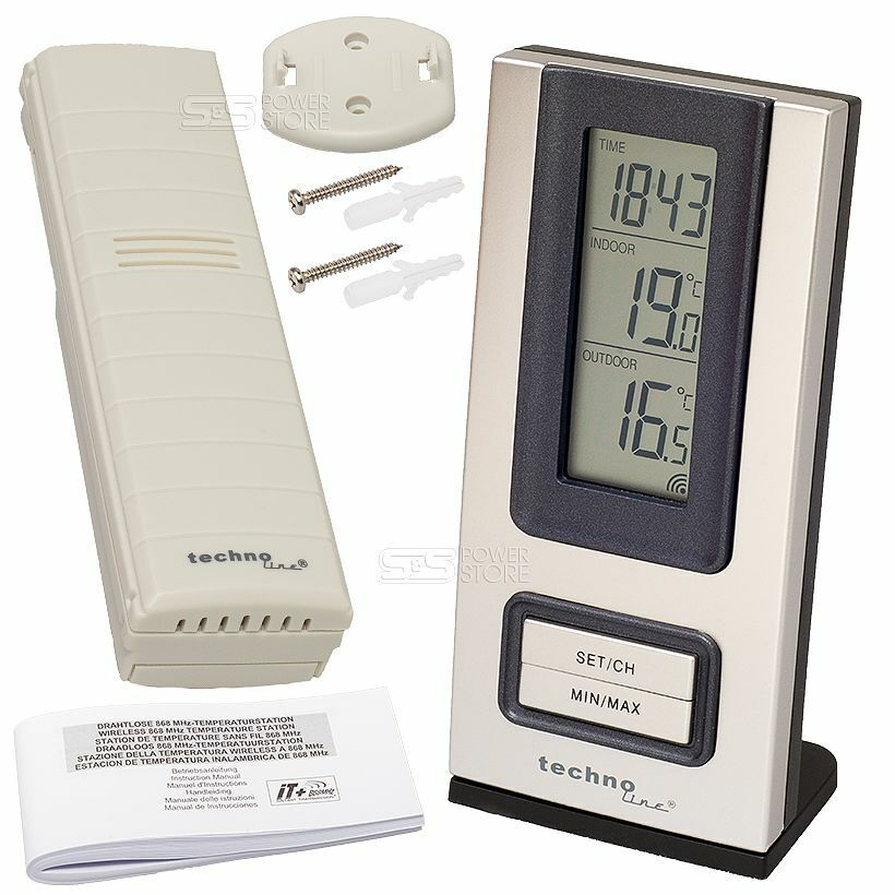 technoline ws 9117 it funk wetterstation thermometer uhr innen au en temperatur ebay. Black Bedroom Furniture Sets. Home Design Ideas