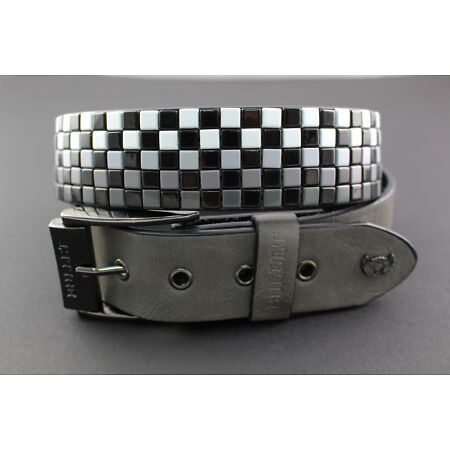 img-BULLET 69 BELT 5 ROWS MIX GREY BLACK & WHITE FLAT GUN METAL STUDDED DARK PUNK