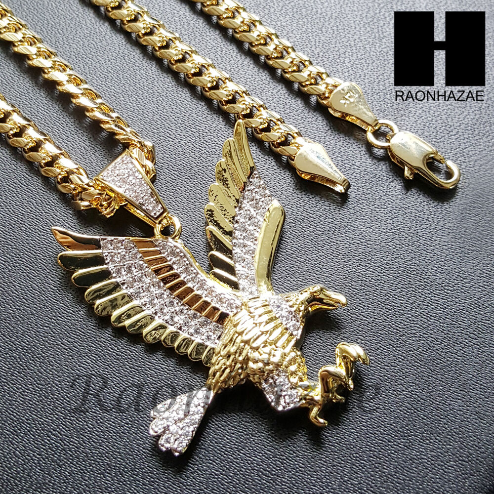Iced Out Lab Diamond 14k Gold Pt American Eagle Pendant W