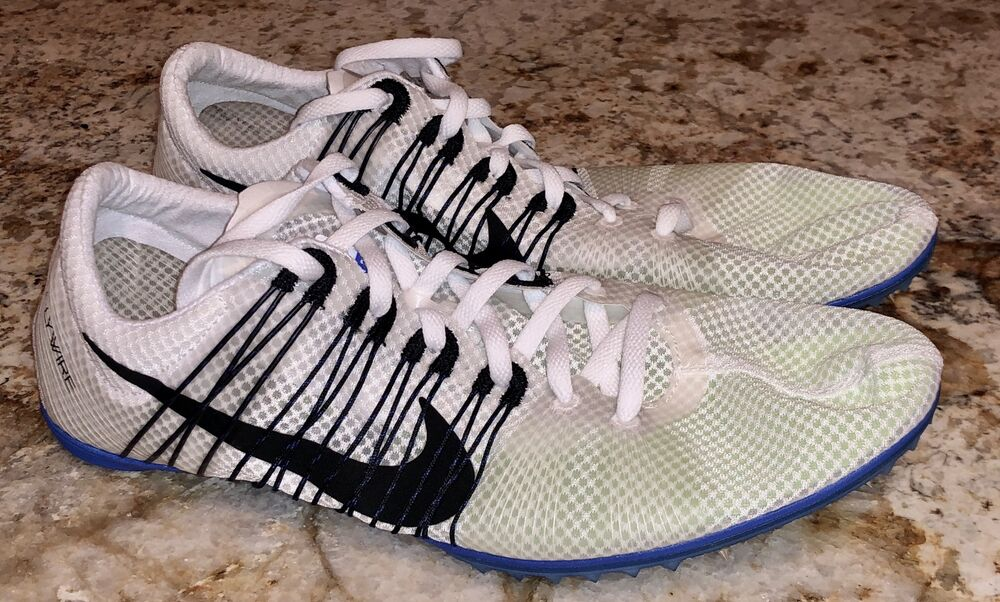 designer fashion e90b2 332de Details about NIKE Victory 2 White Black Mid Distance Track Spikes 4 4.5  6.5 7 9.5 11 12 13 14