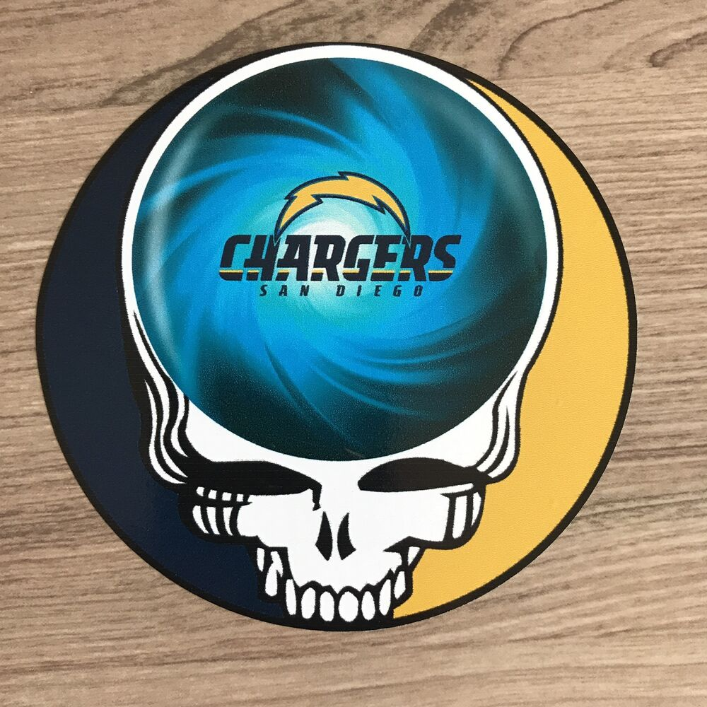 "San Diego Chargers Decals: San Diego Chargers Grateful Dead 4"" Wide Vinyl Sticker"