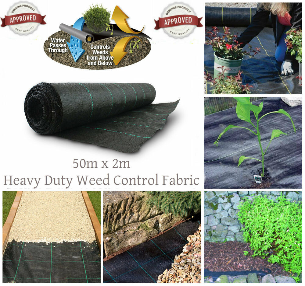 Heavy Duty Lined Weed Control Landscaping Fabric Ground Cover Membrane 100gsm | EBay