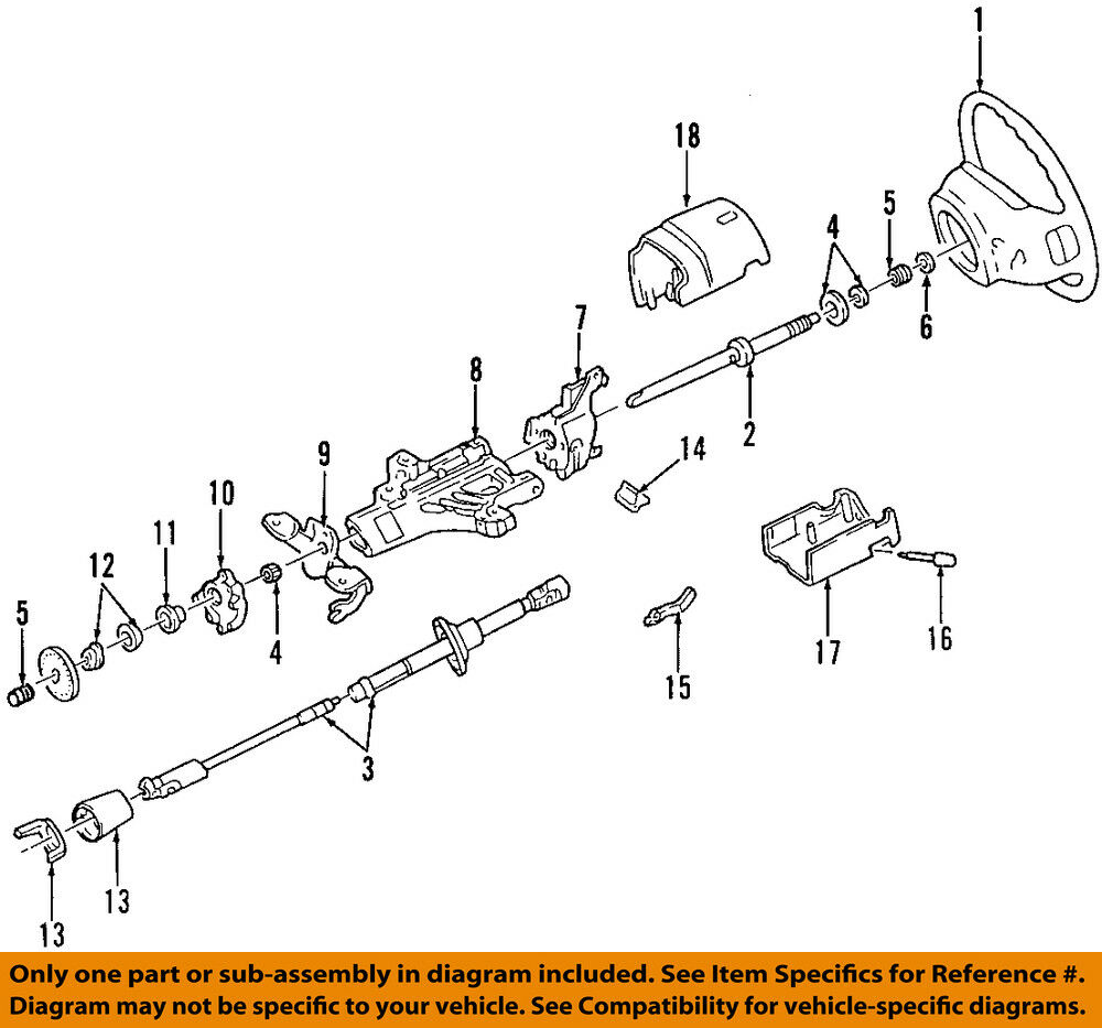 1996 Nissan Pickup Steering Column Parts Diagram Wiring 1992 Ford Oem Upper Shaft F2uz3524a Ebay Rh Com 95 Xe Truck Drive Part