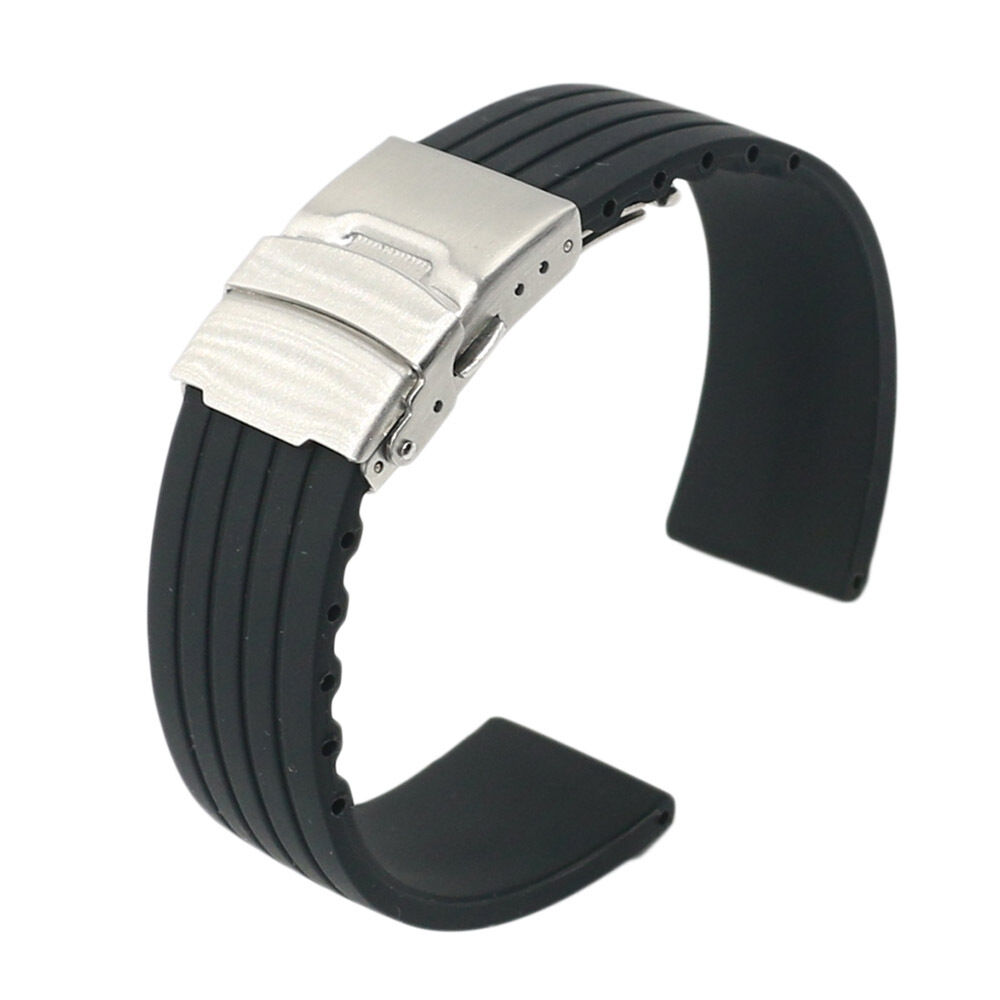 14be6ef1ec7 Details about 18 20 22 24mm Black Silicone Rubber Waterproof Wrist Watch  Band Belt Strap Clasp