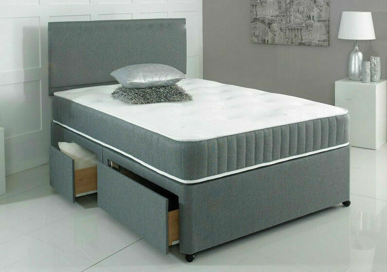 New grey memory foam divan bed set with mattress headboard for Small double divan bed with headboard