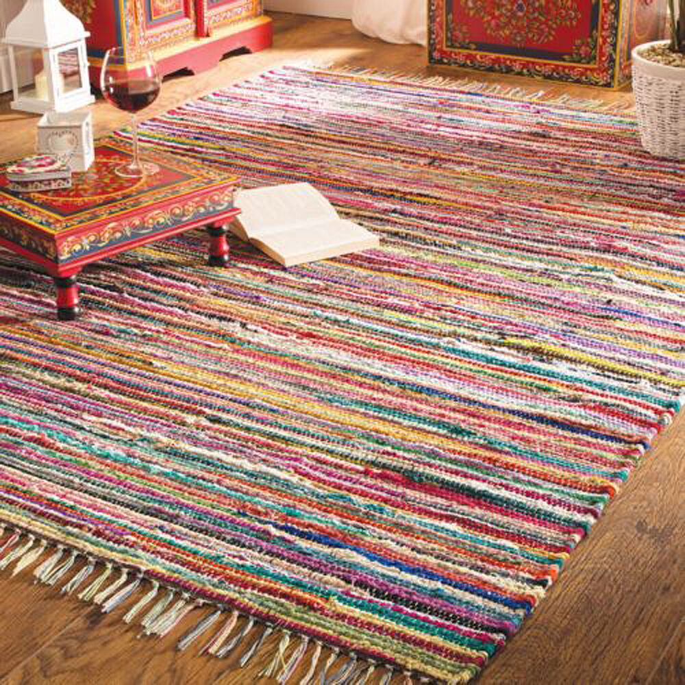 ️shabby Chic Random Rag Rug Multi Colour Raindow Recycled