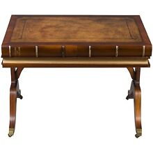 Vintage Antique Style Unique Book Top Leather Wood Writing Table Library Desk