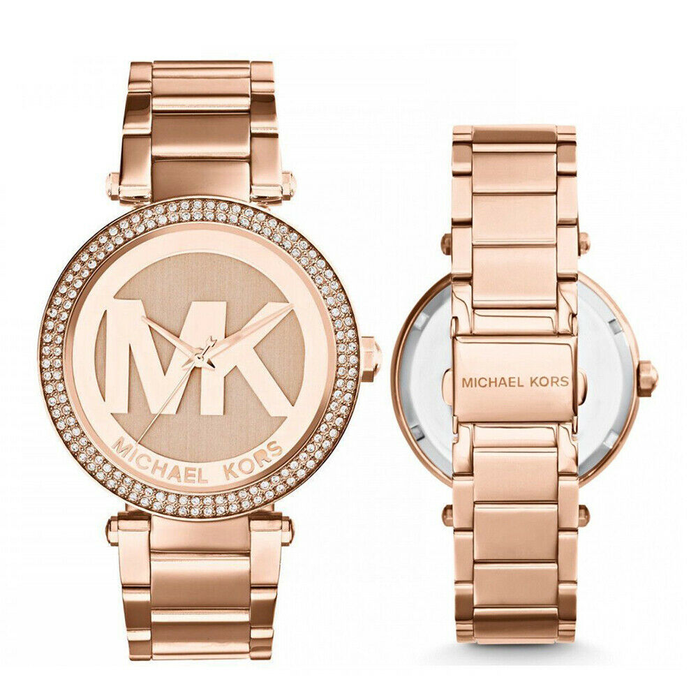 2fca3cf1be0d Details about New Michael Kors MK5865 Parker Rose Gold Logo Dial Glitz  Bezel 39MM Ladies Watch