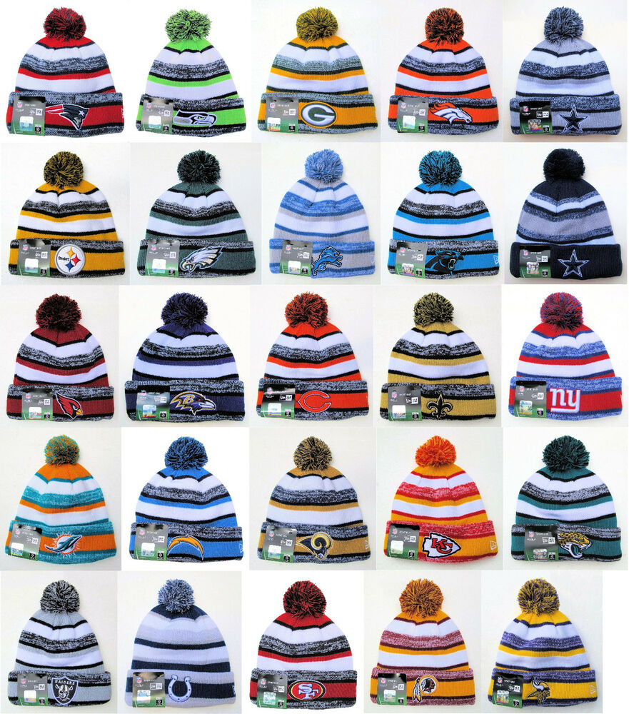 NFL Sports Knit Pom Top Cuffed Beanie Winter Cap Hat Authentic New Era  de641e83e66