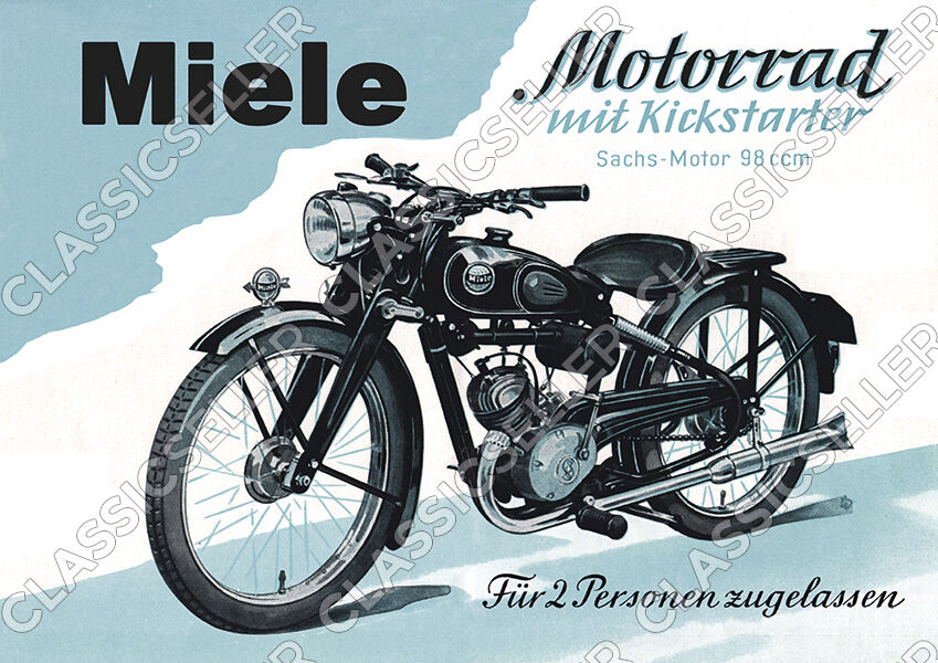 miele motorrad sachs motor 98 ccm 98er poster plakat bild. Black Bedroom Furniture Sets. Home Design Ideas