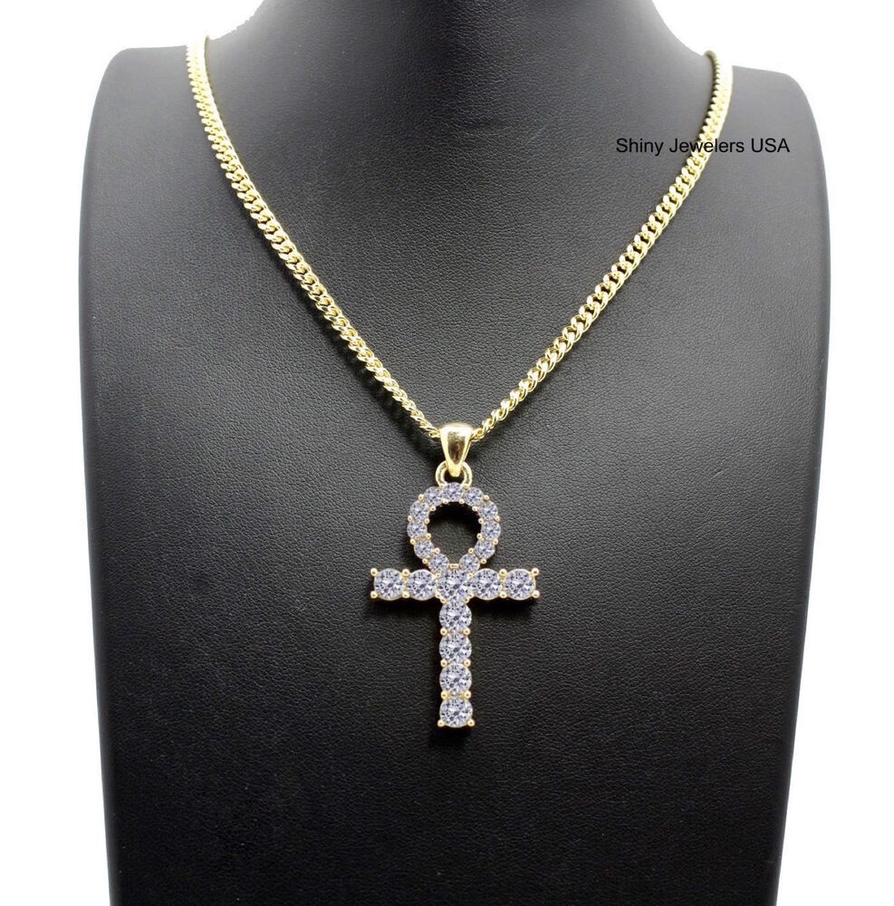 Mens gold cross necklace ebay mens iced out egyptian gold ankh cross pendant cuban chain necklace hip hop aloadofball Gallery